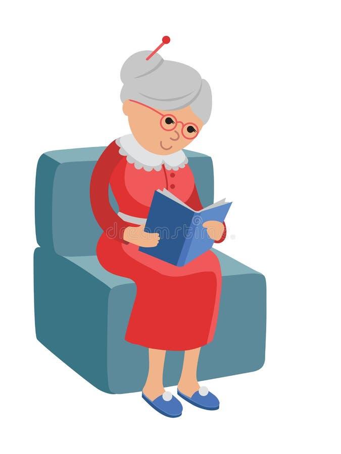 Illustratie die een bejaarde kenmerken die een boek lezen stock illustratie