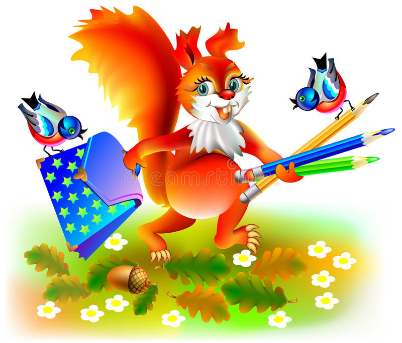 Illustratie die van gelukkige eekhoorn naar school gaan vector illustratie