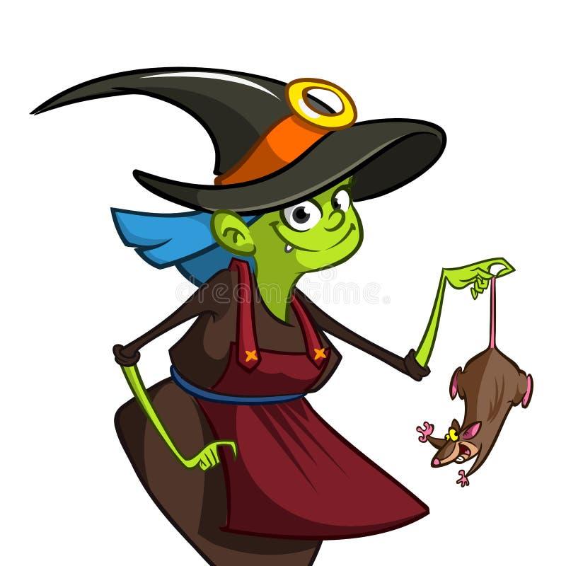 Illustratie die van Halloween-heks een dunny rat houden royalty-vrije illustratie