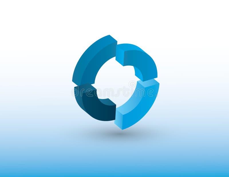 Illustratie die van het cirkel de vectorembleem blauwe kleur gebruikt die omwenteling of cyclus van om het even welk ding op witt vector illustratie
