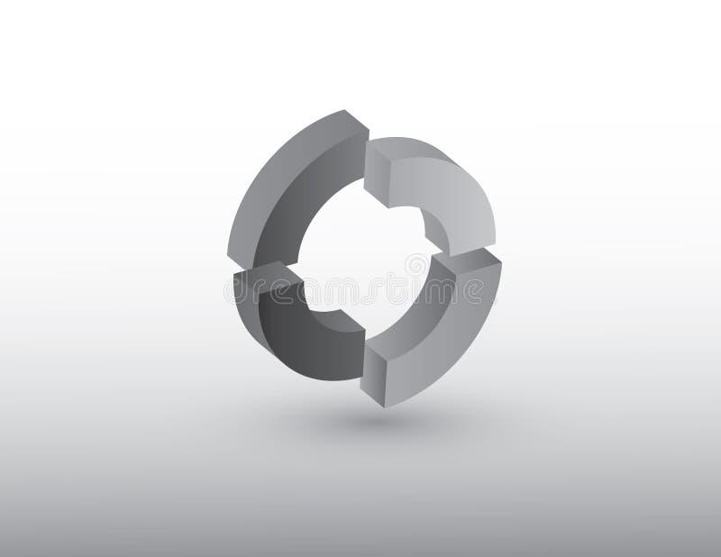 Illustratie die van het cirkel de vectorembleem grijze kleur gebruiken die omwenteling of cyclus van om het even welk ding op wit royalty-vrije illustratie