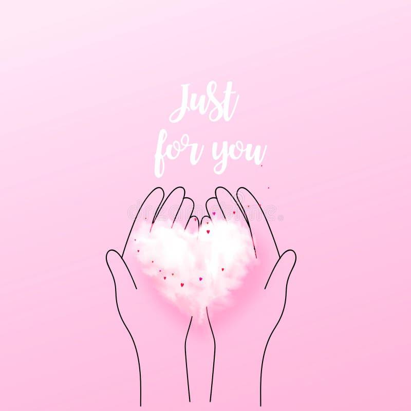 Illustratie die van krabbelhanden 3D hartwolk houden Liefdeconcept, de dagachtergrond van Valentine ` s Vector illustratie Behang royalty-vrije illustratie