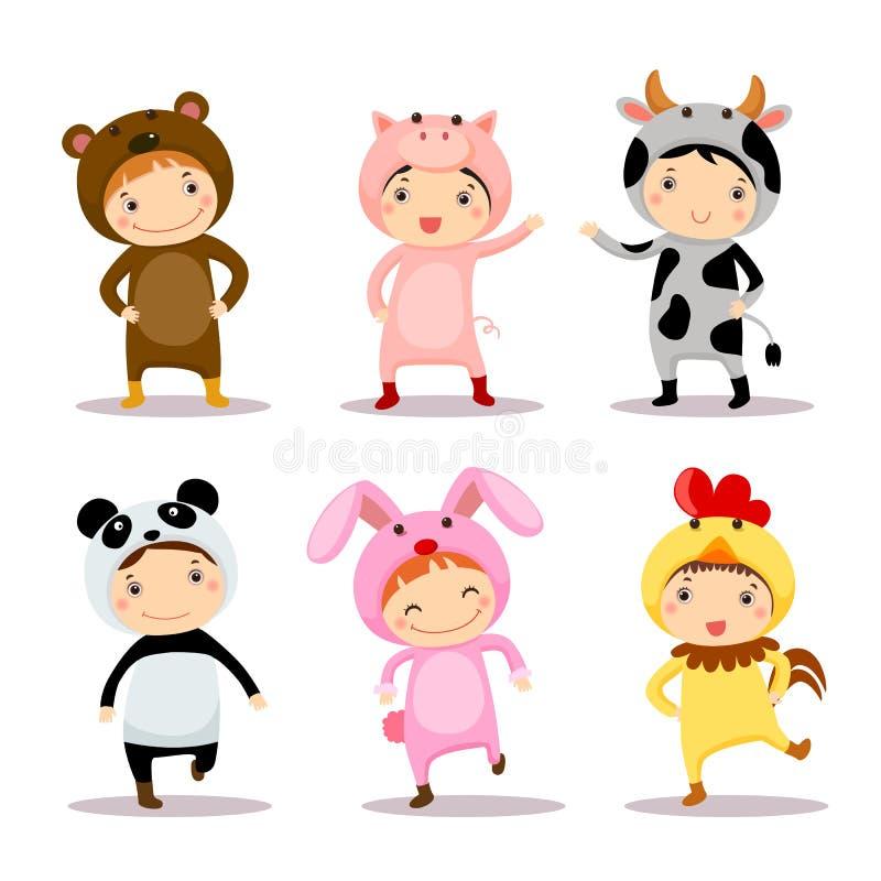 Illustratie die van leuke jonge geitjes dierlijke kostuums dragen stock illustratie