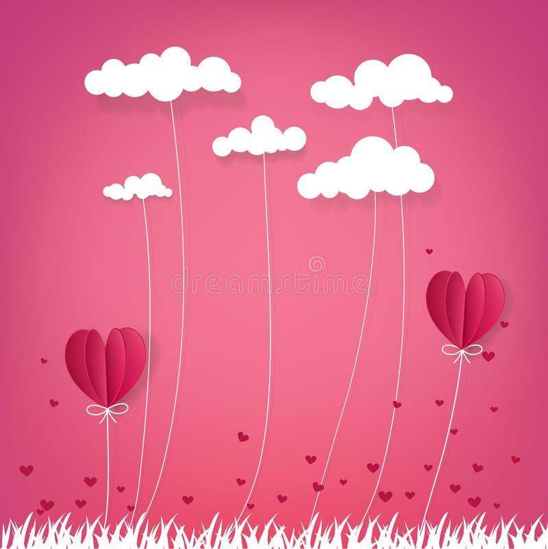 Illustratie die van liefde en valentijnskaartdag, Hete luchtballon ov vliegen stock fotografie