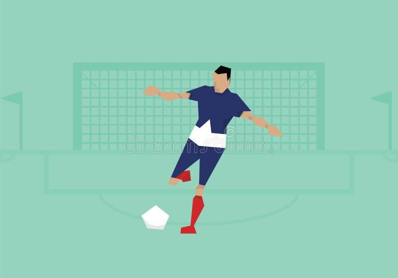 Illustratie die van Mannelijke Voetballer in Gelijke concurreren stock illustratie