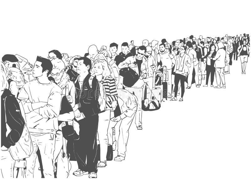 Illustratie die van mensentoerist in lijn bij luchthaven openbaar vervoer wachten royalty-vrije illustratie