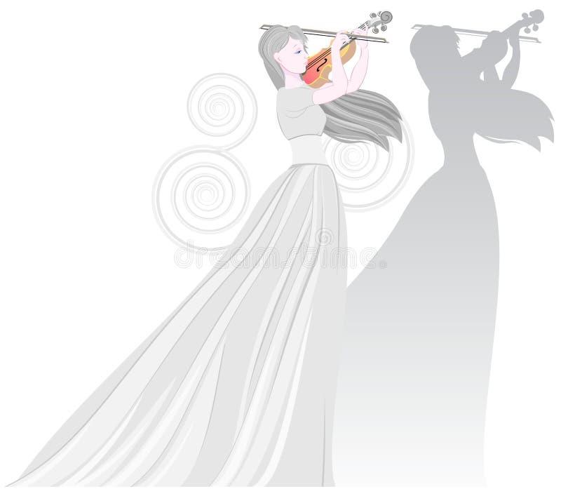 Illustratie die van mooie fee de viool spelen Affiche voor muzikaal festival met vrouwen` s cijfer en haar schaduw royalty-vrije illustratie