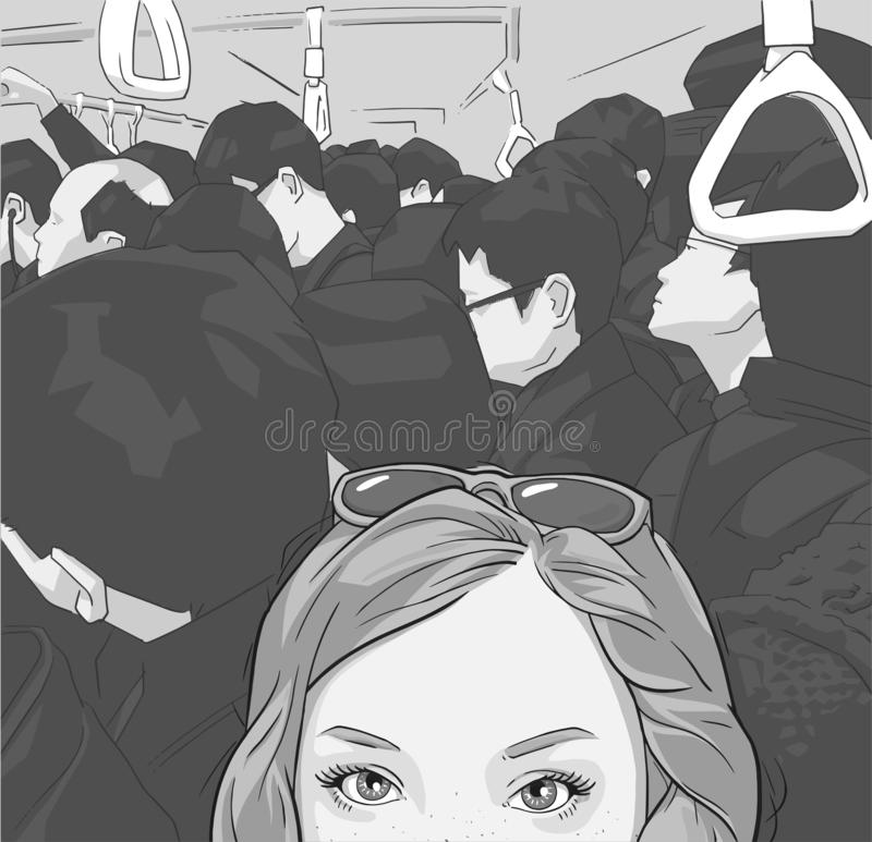 Illustratie die van toeristenmeisje selfie foto in overvol openbaar vervoer nemen stock illustratie
