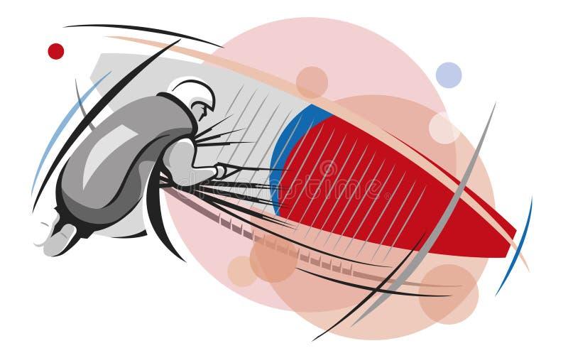 Illustratie een mensenvluchten een rood glijscherm stock foto