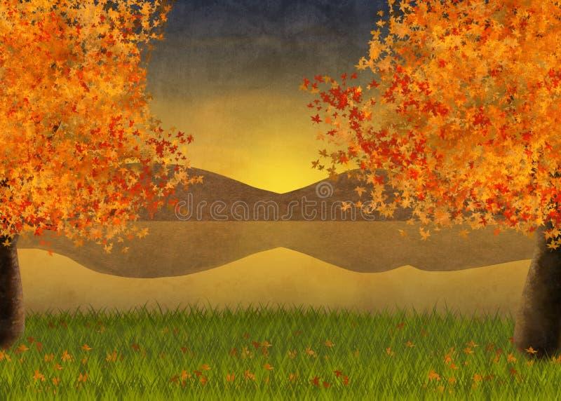 Illustratie en achtergrond van de herfstlandschap met esdoornbomen en een mening over het meer royalty-vrije illustratie