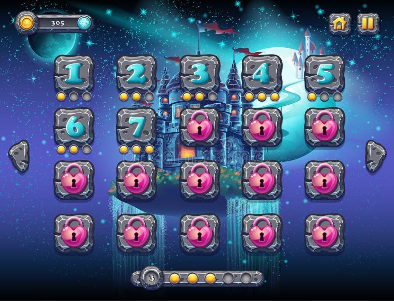 Illustratie fabelachtige ruimte met vrolijke planeten met de niveaus van het voorbeeldscherm, de spelinterface met een vooruitgan stock illustratie
