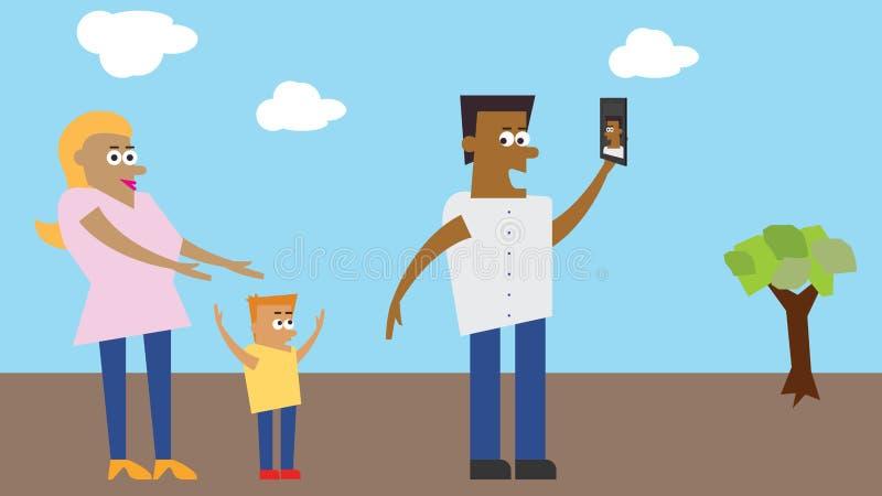 Illustratie - Familie die selfie in een park nemen royalty-vrije stock foto's