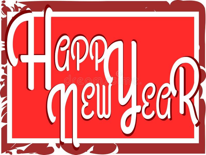 Illustratie Gelukkig Nieuwjaar in rode tonen vector illustratie