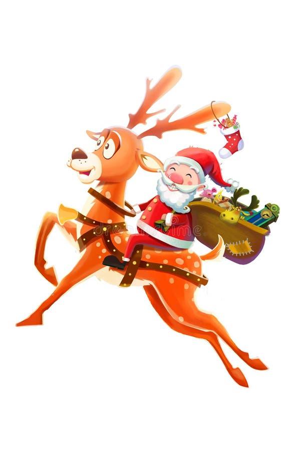 Illustratie: Gelukkige Santa Claus And His Deer Sending-Giften! stock illustratie