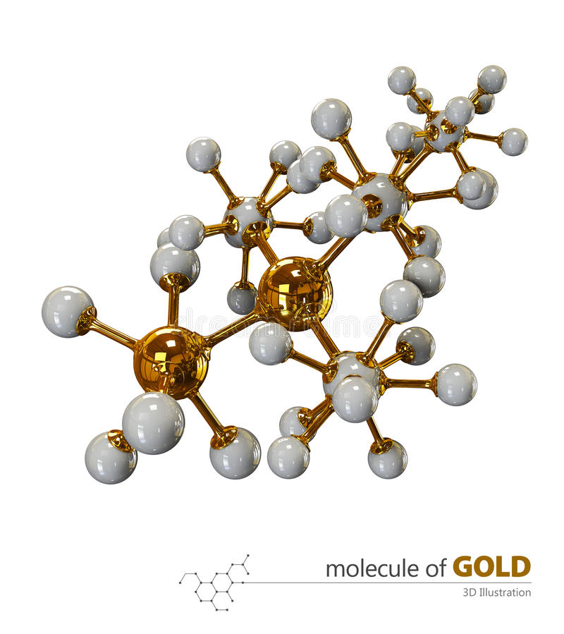 Illustratie, Gouden Molecule geïsoleerde witte achtergrond stock illustratie
