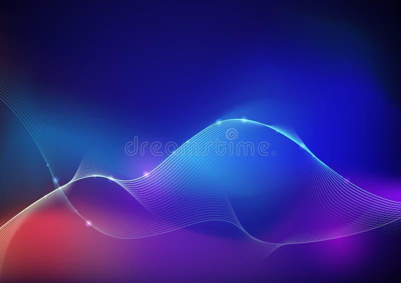 Illustratie het Abstracte gloeien, neonlichteffect, golflijn, golvend patroon Vectorontwerp communicatie techno op blauwe achterg royalty-vrije illustratie