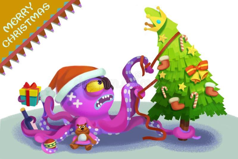 Illustratie: Het Octopusmonster komt om u Vrolijke Kerstmis te wensen! stock illustratie