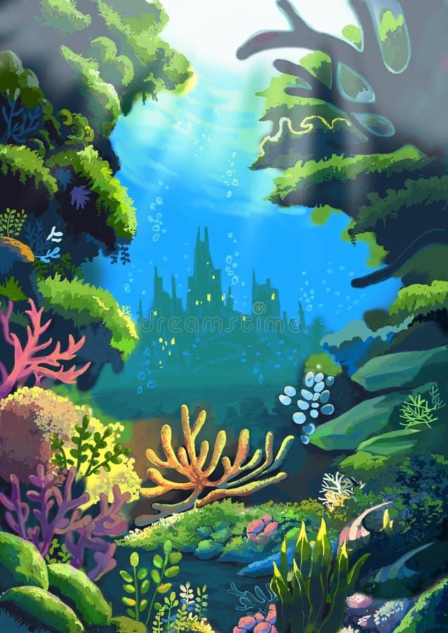 Illustratie: Het Overzees waar de levende Vader van de Kleine Meerminnen stock illustratie
