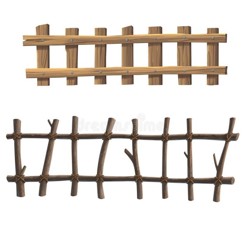 Illustratie houten omheining over de witte achtergrond stock illustratie