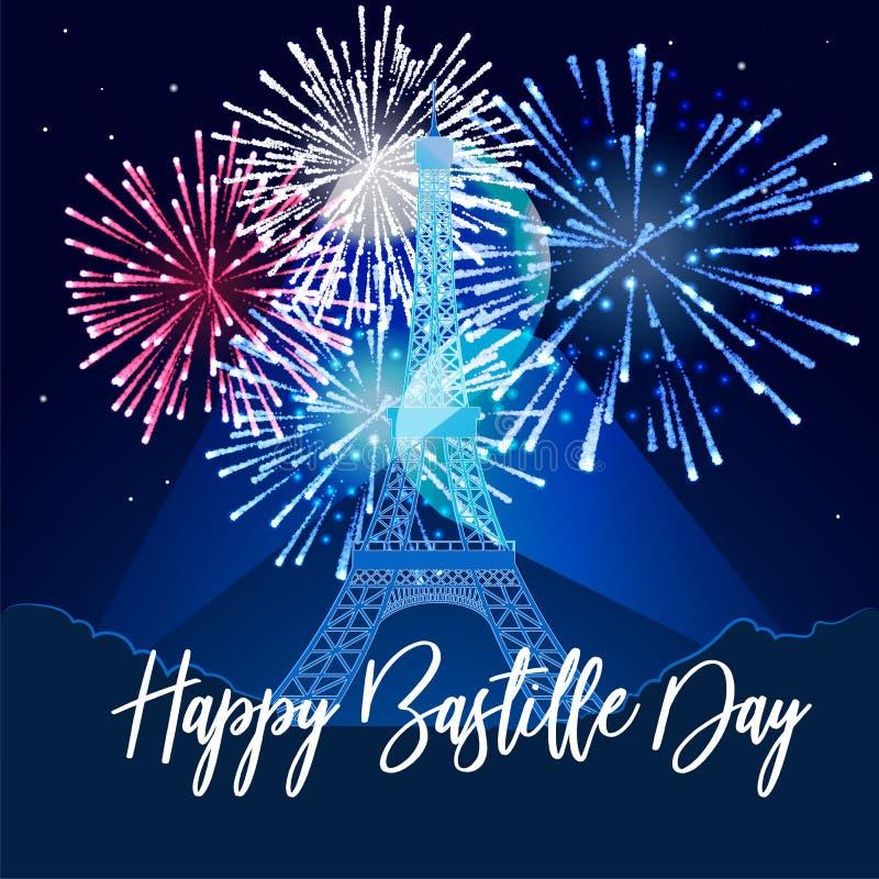 illustratie, kaart, banner of affiche voor de Franse Nationale Dag Gelukkige Bastille-dag stock illustratie