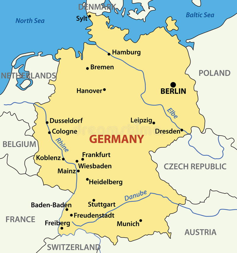 Illustratie - kaart van Duitsland - vector vector illustratie