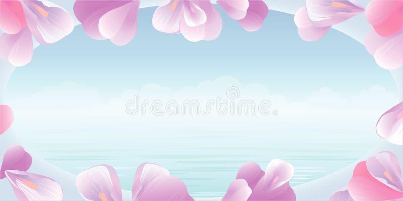 Illustratie met bloemen Roze bloemblaadjes tegen achtergrond van turkooise overzees Mening van het venster Vector stock illustratie