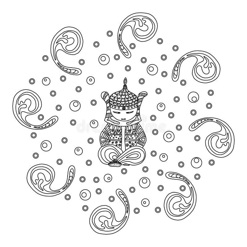Illustratie met Boedha op het thema van Boeddhisme en het heelal met ornament royalty-vrije illustratie