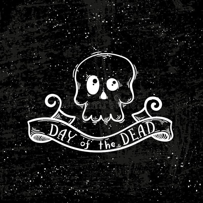 Illustratie met de Dag van het Dode van letters voorzien en de schedel stock illustratie