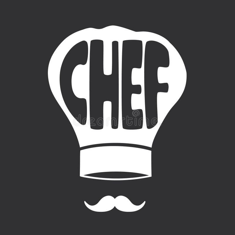 Illustratie met de hoed, de snor en de tekst van de chef-kok vector illustratie