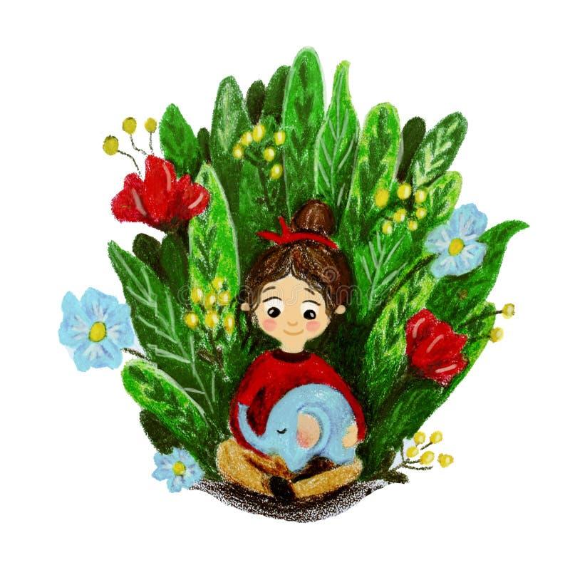 Illustratie met een klein meisje en een olifant vector illustratie
