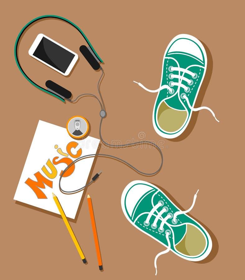 Illustratie met een mening van hierboven van tennisschoenen, telefoon, hoofdtelefoons en tekening met potloden en een drank in de vector illustratie