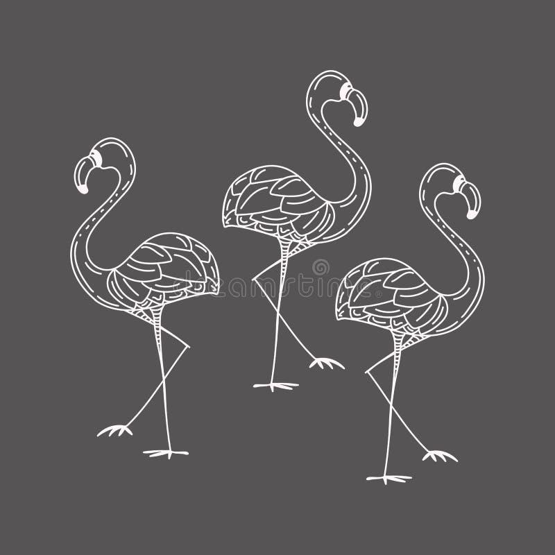 Illustratie met een reeks flamingo'ssilhouetten op grijze achtergrond wordt geïsoleerd die stock illustratie