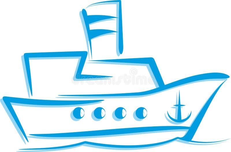Illustratie met een schip stock illustratie