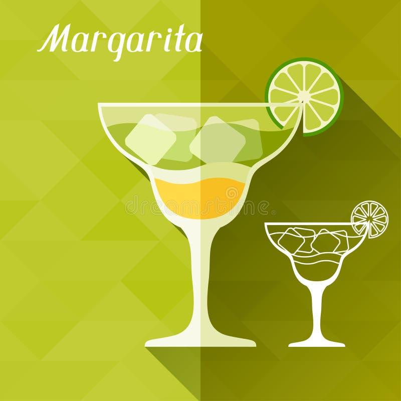 Illustratie met glas van Margarita in vlakte stock illustratie