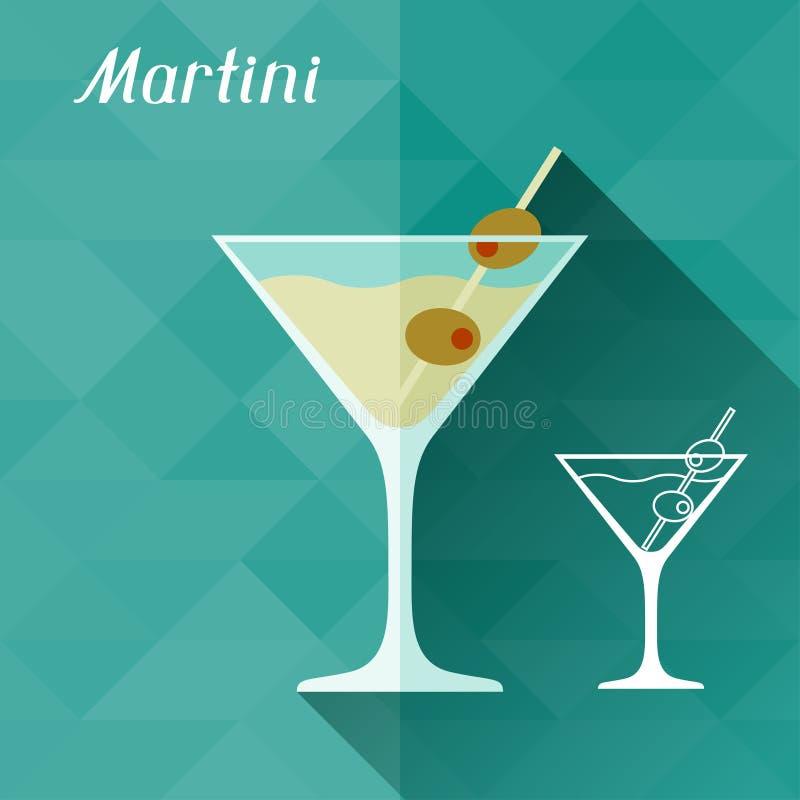 Illustratie met glas van martini in vlak ontwerp vector illustratie
