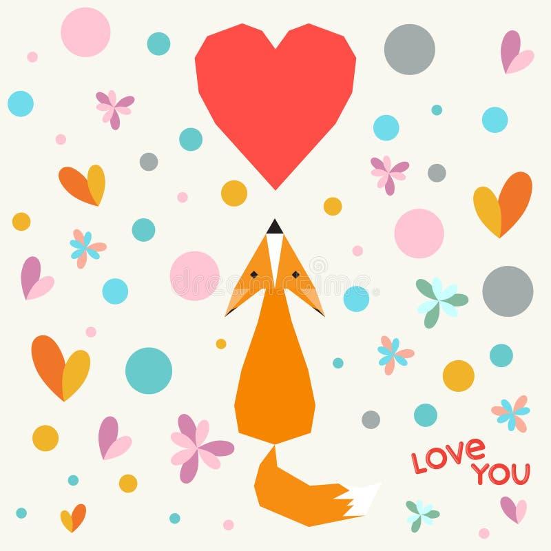 Illustratie met grappige beeldverhaal geometrische vos, bloemen en harten voor gebruik in ontwerp voor van het valentijnskaartend vector illustratie