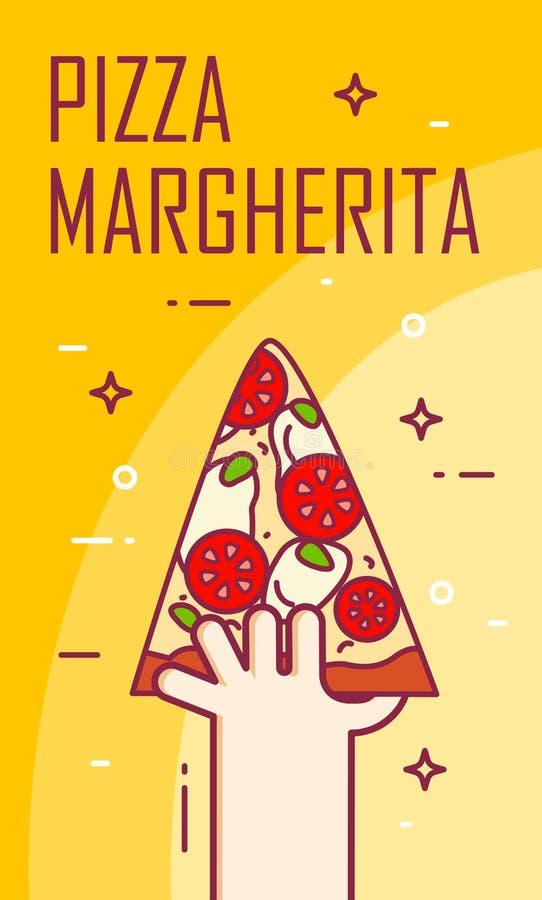 Illustratie met hand en plak van pizzamargherita Vectorbanner voor snel voedsel De dunne kaart van het lijn vlakke ontwerp royalty-vrije illustratie