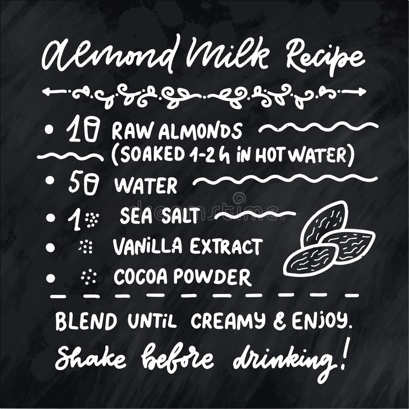 Illustratie met het eigengemaakte recept van de amandelmelk Het malplaatje van het natuurvoedingontwerp Vegetarische voeding Vect royalty-vrije illustratie