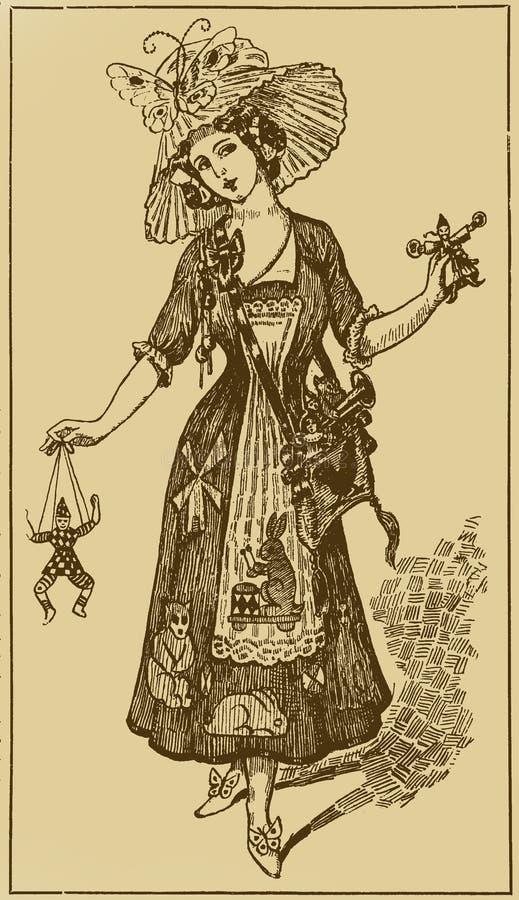 Illustratie met het meisje royalty-vrije stock foto