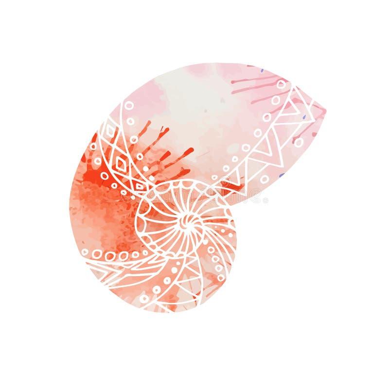 Illustratie met krabbel overzeese shells en waterverfachtergrond vector illustratie
