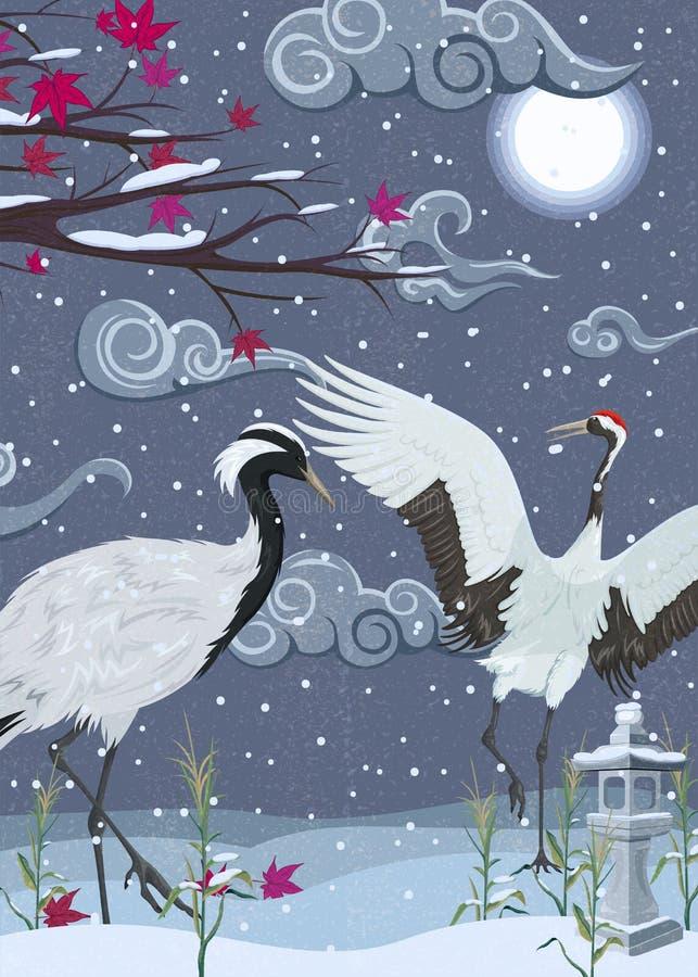 Illustratie met kranen bij nacht in de winter royalty-vrije illustratie