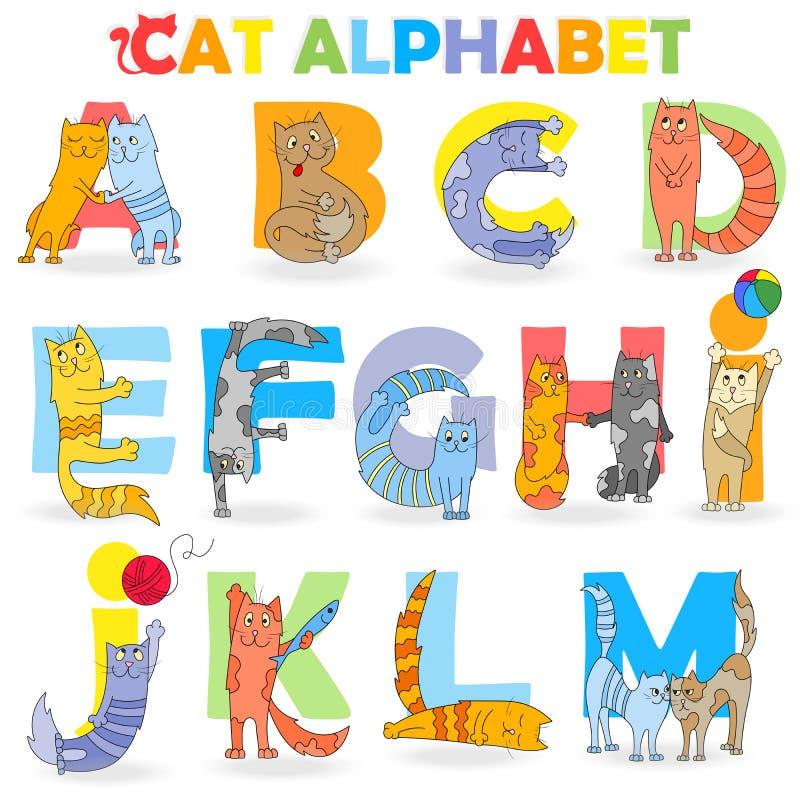 Illustratie met Latijns alfabet, deel 1, van A aan M, grappige beeldverhaalkat in de vorm van brieven stock illustratie