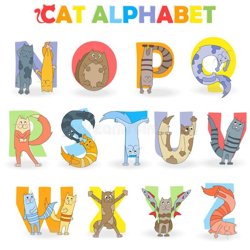 Illustratie met Latijns alfabetdeel 2, van N aan Z, grappige beeldverhaalkat in de vorm van brieven stock illustratie