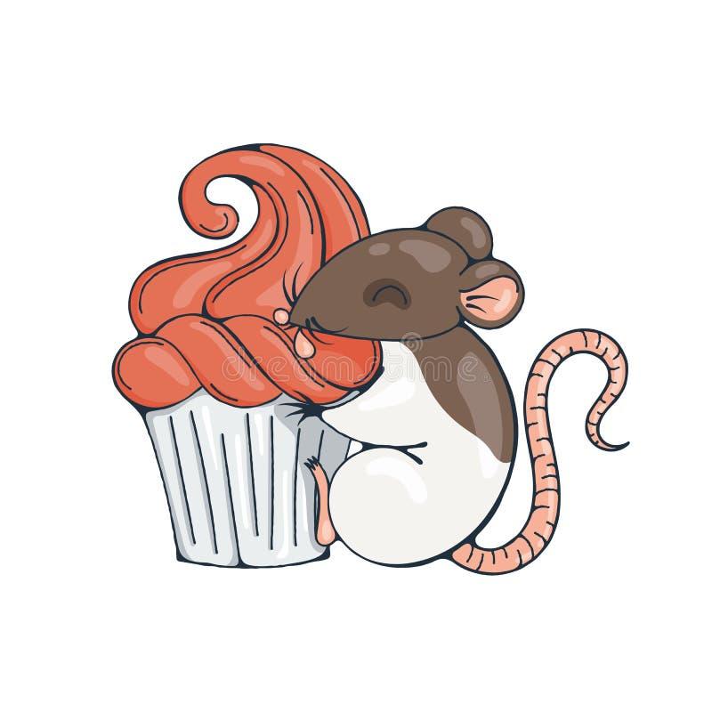 Illustratie met leuke rat met cupcakes vector illustratie
