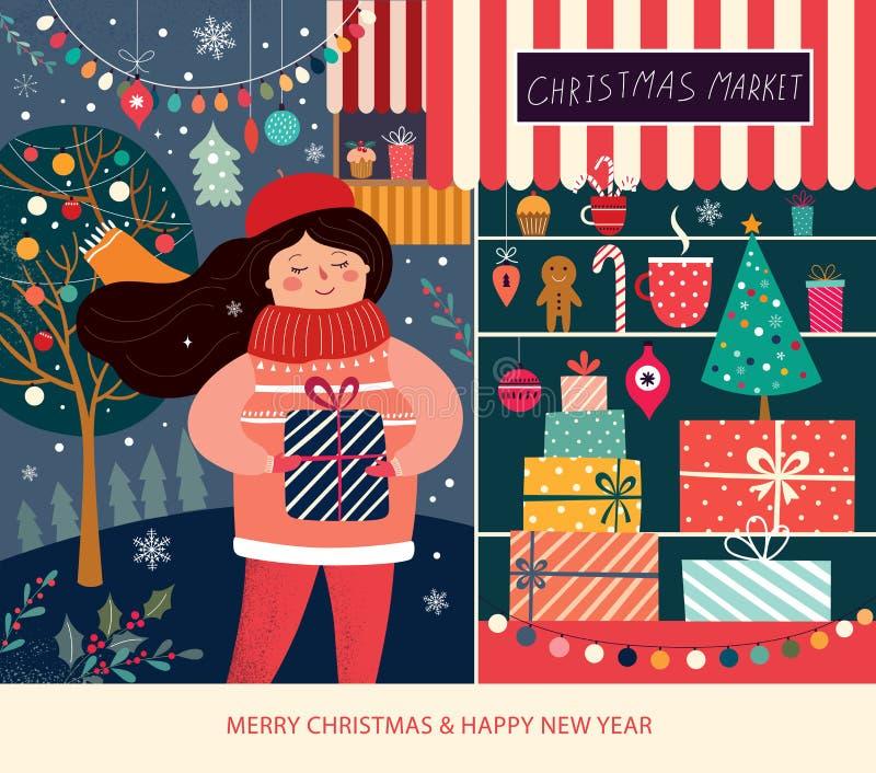 Illustratie met meisje en Kerstmisgiftdozen in opslagvenster royalty-vrije illustratie