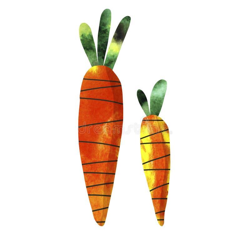 Illustratie met oranje wortelen stock illustratie