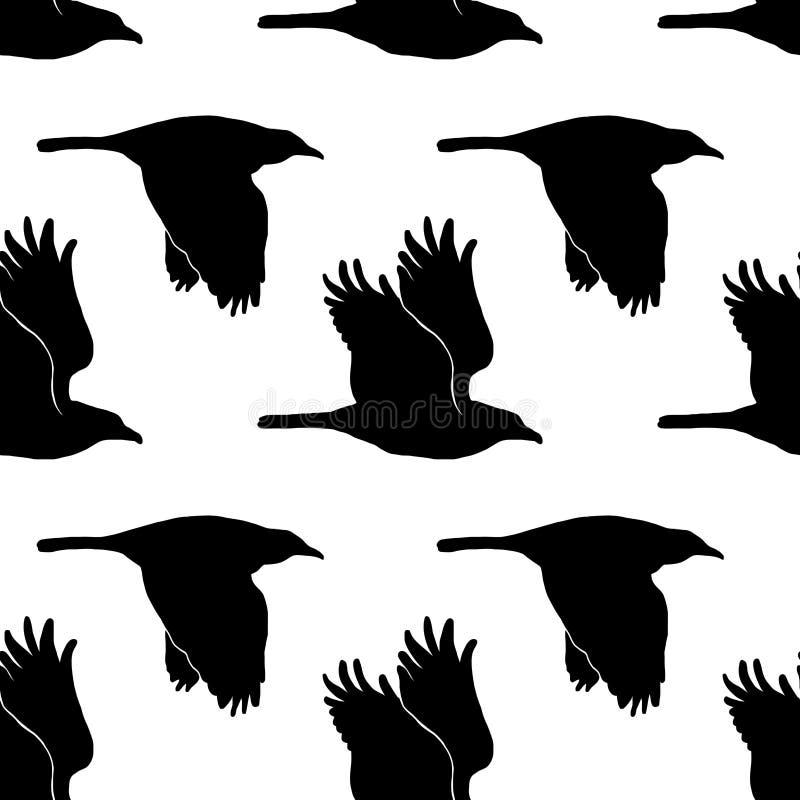 Illustratie met raaf in vector Zwart-wit naadloos patroon stock illustratie