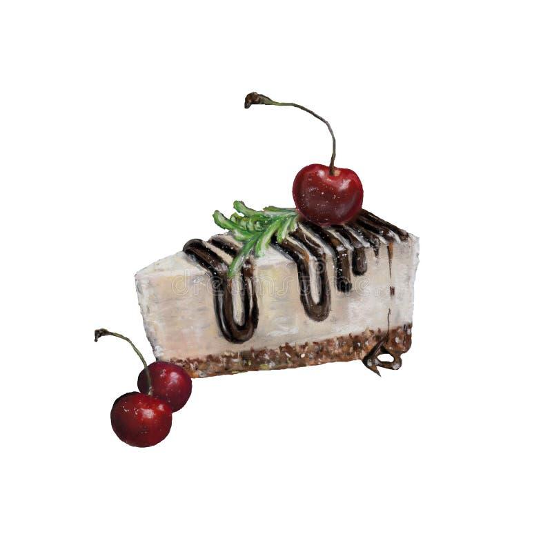 Illustratie met smakelijke kaastaart royalty-vrije stock afbeelding