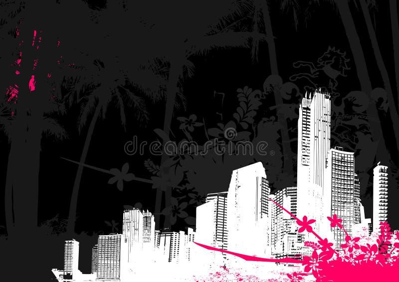 Illustratie met stad. Vector vector illustratie