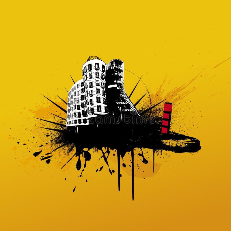 Illustratie met stad. Vector stock illustratie